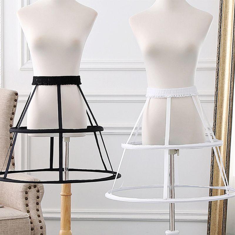 Women Girls Elastic Waistband Adjustable Pannier Petticoat White Black 2 Hoop Cage Skirt Wedding Bridal Crinoline Underskirt