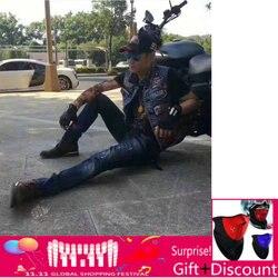 Мужской джинсовый жилет VOLERO, облегающий ковбойский жилет на молнии без рукавов, стильный жилет для мотоцикла Harley