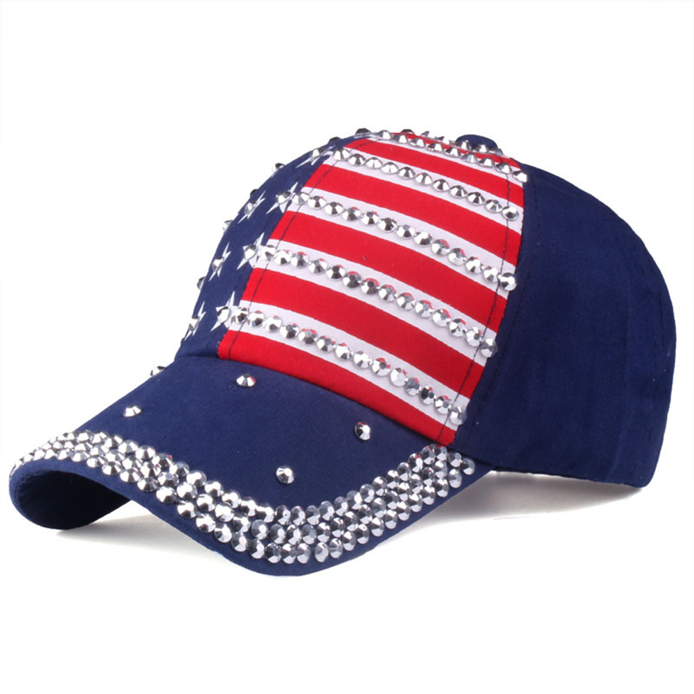 New The American Flag Baseball Caps 2019 Fashion Hat For Men Women The Adjustable Cotton Cap Rhinestone Star Denim Cap Hat #30