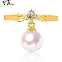XF800 18 К золотые кольца естественно Akoya Sea Pearl Ring Круглый 7 7,5 мм обручальные Мода для Для женщин свадебные Обручение с коробкой J110