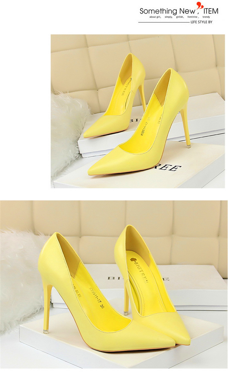 BIGTREE Soft Leather Shallow Fashion Women's High Heels Shoes Candy Colors Pointed Toe Women Pumps Show Thin Female Office Shoe 8