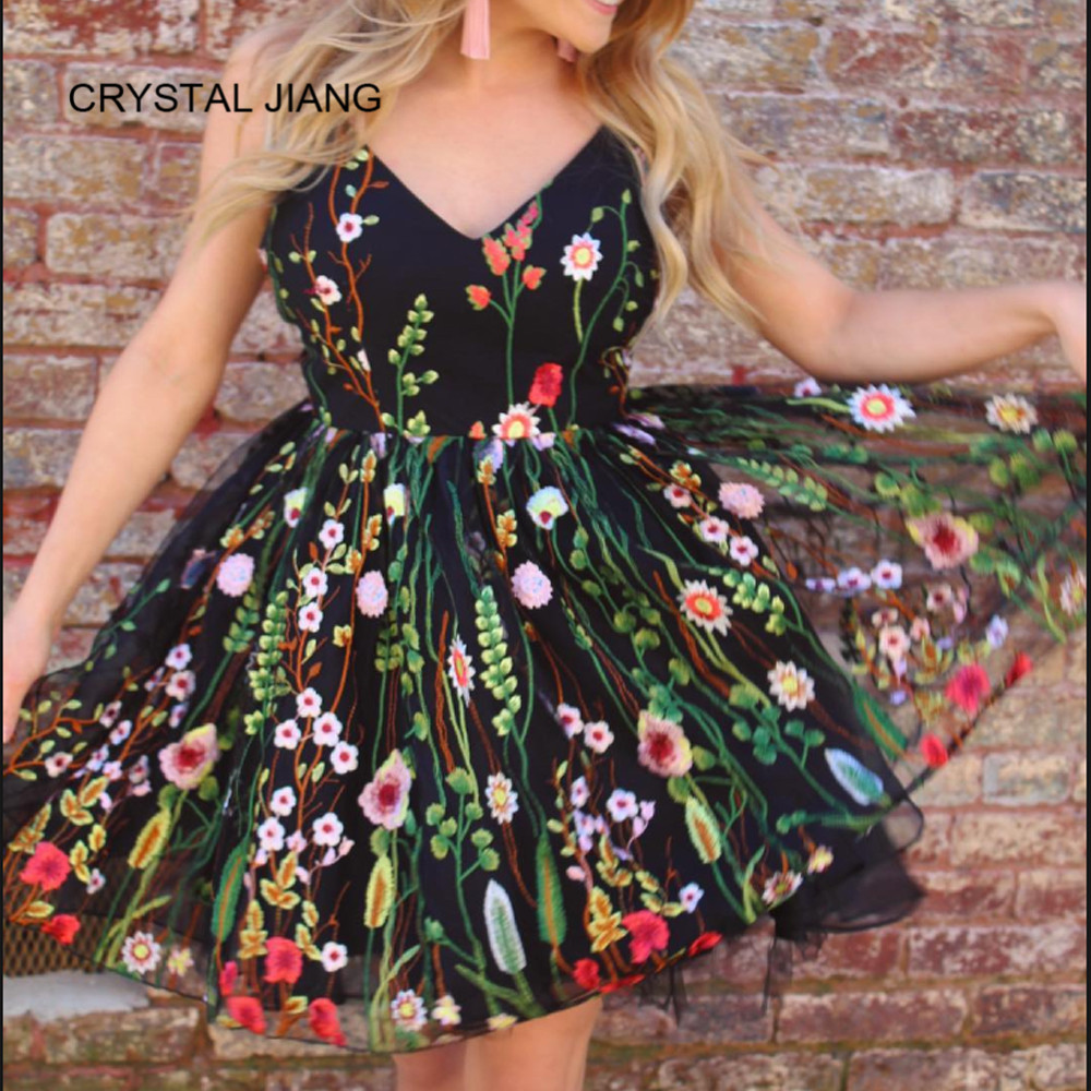 CRYSTAL JIANG 2018   Cocktail     Dress   Sexy V Neck Spaghetti Straps Natural Waist A Line Floral Embroidery   Cocktail   Party   Dresses