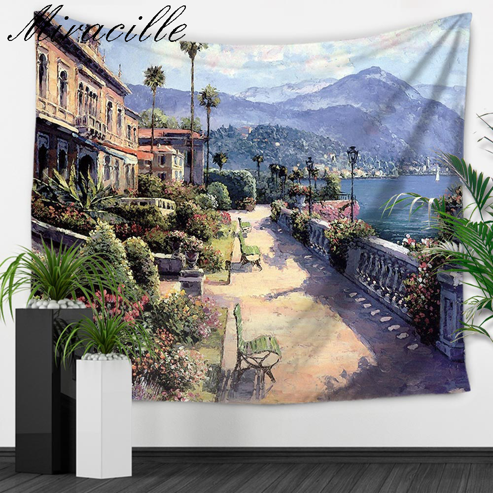 Miracille Euro Street Pattern Flower Garden Hanging Wall Carpet Tapestry Rectangle Decorative Tapestries Sheet Chair Sofa Cover