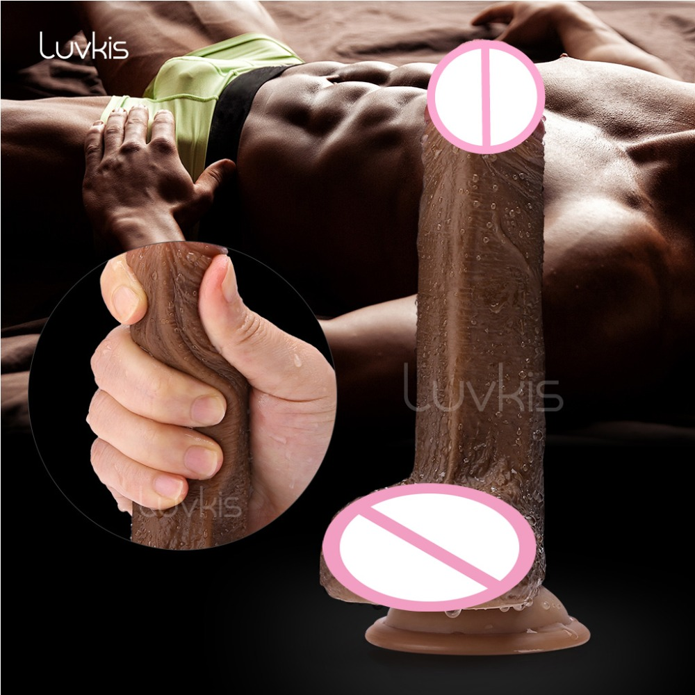 Luvkis Deep Brown 7 Inch Big Dildo Realistic With Suction Cup Skin Feeling Double layered Liquid Silicone Sex Toys for Woman