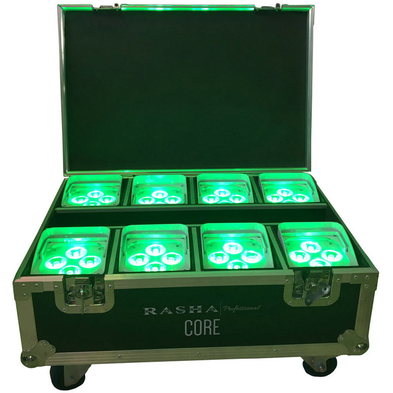 8X LOT IRC Remote Control Wifi APP Smart LED UPLIGHT 4*18W 6in1 RGBAW UV Battery Wireless Stage LED Par Light With Flight Case professional 8x led par 6 18w leds smart dj s4 battery powered wireless dmx wedding uplight light rgbwa uv 6in1 party up lights