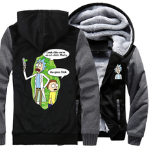 plus size sweatshirts male brand tracksuits Rick and Morty printing jackets men wool liner winter coats raglan long sleeve 2019 недорого