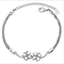 LUKENI Trendy 925 Sterling Silver Clover Women Bracelets Jewelry Hot AAA+Cubic Zirconia Female Anklets Bracelet Lady Gift Bijou