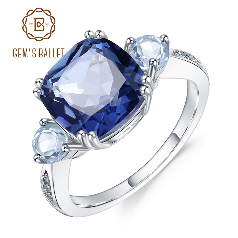 Gem's Ballet 5.22Ct Natural  Iolite Blue Mystic Quartz Sky Blue Topaz Rings Solid 925 Sterling Silver Fine Jewelry For Women