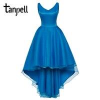 Tanpell v cou robe de bal élégant bleu sans manches longueur au genou une ligne robes pas cher femmes en mousseline de soie partie formelle de soirée de bal robe