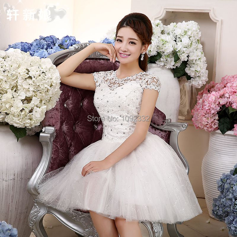 Amiable S 2016 New Stock Bridal Gown Plus Size Women Wedding Dress Short Sexy Fashion Bandage Short Cheap A81