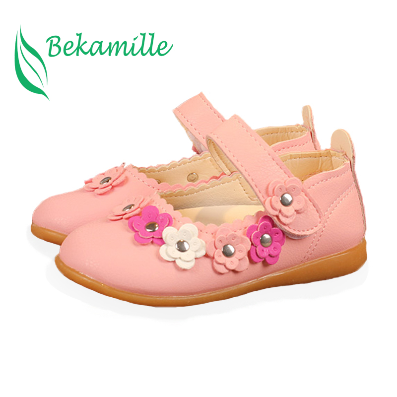 Bekamille Children Leather Shoes Casual Fashion Flower Rivet Baby Flat Heel Soft Sole Shoes Spring Autumn Girls Leather Shoes