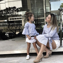 family matching clothes O-neck Bow Flare Sleeve Shirt+Shorts mum kids baby outfits mother and daughter C0493