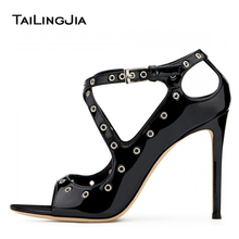 Open Toe High Heel Black Patent Pumps with Metal Loops Women Peep Stiletto Heels Ladies Ankle Strap Heeled Summer Shoes 2019
