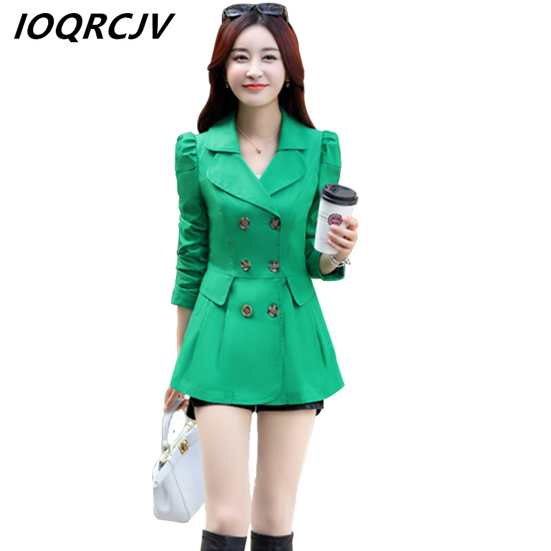 New Women   Trench   Coat 2019 Spring Autumn Casual Solid Color Slim Double-breasted Short Coat Female Office Windbreaker Outwear