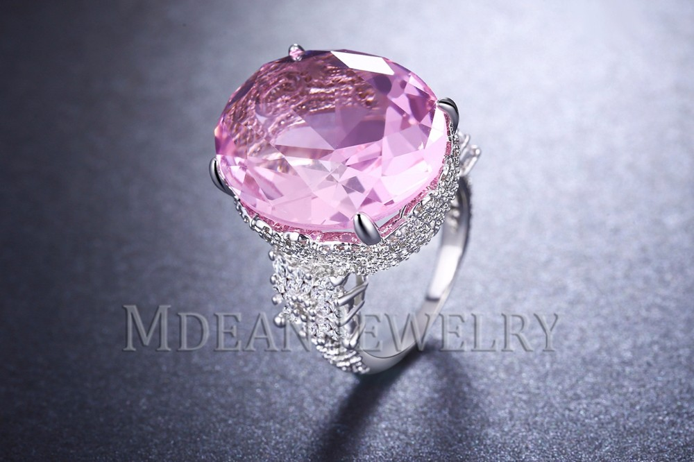 MDEAN Pink Stone White Gold Color Wedding Rings For Women Engagement Big AAA Zircon Jewelry Ring Fashion Bague MSR812 5