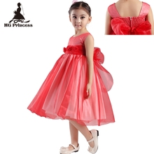 Free Shipping Rose Organza Mid Calf Kids Evening Gowns Cheap Price Solid Formal Girl Dress Red Flower Dresses For Weddings