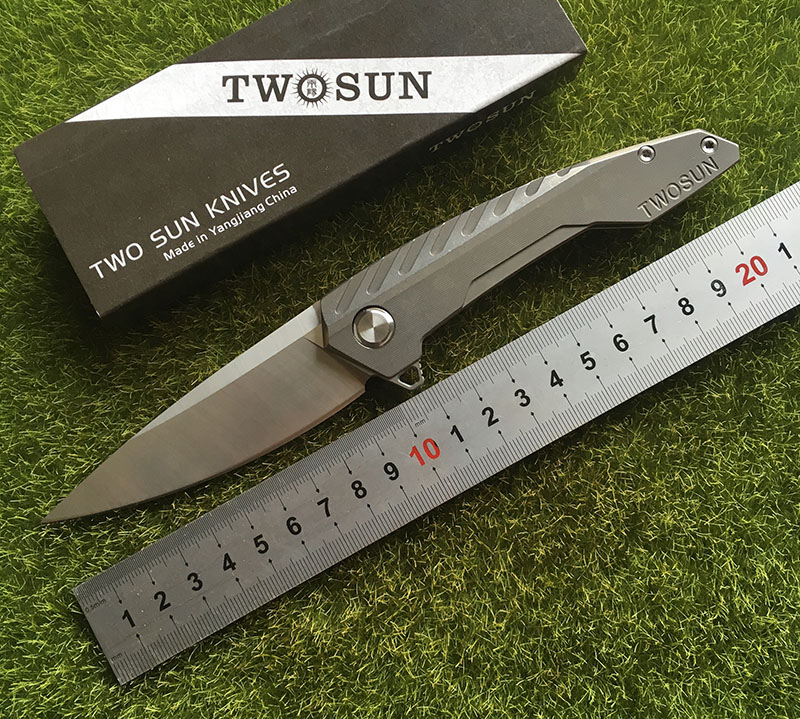 TWO SUN TS05 D2 blade Tactical Flipper ball brearing folding knife titanium camping hunt Pocket knives outdoor Survival EDC Tool цены