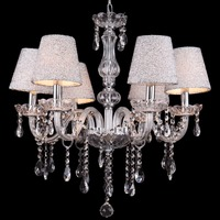 (Ship from Germany) 6 Arm Crystal Chandelier Lampshade Ceiling Lamp Light Pendant Illumination