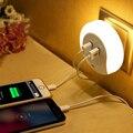 Atmósfera Lámpara 2 Puerto USB Cargador de Teléfono Móvil Conveniencia LED Sensor de Luz de La Novedad Luz de La Noche Para El Dormitorio Sala de estar