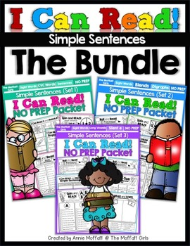 3 Packets I Can Read Simple Sentences Learning English Reading, Short Stories, Phonics ,sight Words ,Family Words PDF File