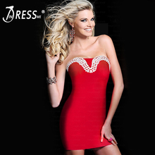 INDRESSME 2017 New Solid Sheath Off The Shoulder Beading Strapless Bandage Women Dress Clearance