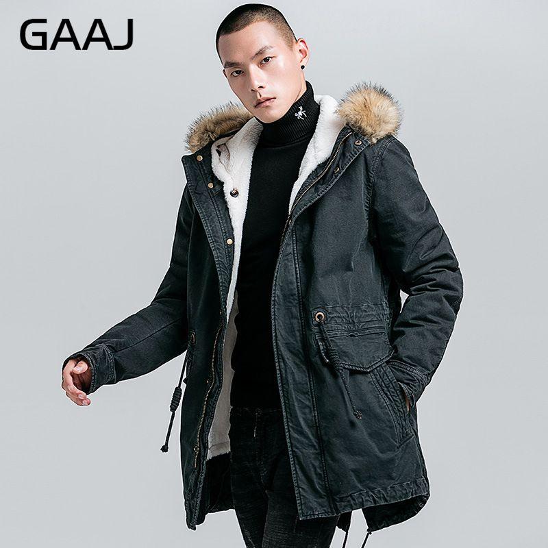 GAAJ חדש Parka גברים עבה צמר 100% כותנה Loose Fit חורף-40'C להתחמם איש הצבאי Amry כהה ג 'ינס ג 'ינס מעיל HPDJY #
