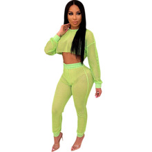 цена на Neon Green Mesh See Through Two Piece Set Women Hollow Out Long Sleeve Crop Top and Pants with Briefs Sexy Club Matching Outfits