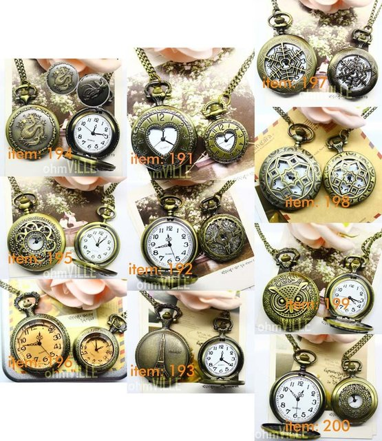 2012 New Arrivals - Couples watches (191) Fashion Vintage bronze,his-and-hers watches,couple tables, pocket watch ~Free shipping