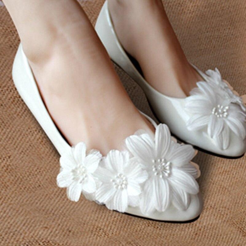 Livraison gratuite ivoire dentelle blanche fleur chaussures de mariage des  femmes, Demoiselle d honneur   mariage ballerines, Pleine US taille 4 5 6 7  8 9 ... 5002e4d8a410