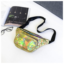 Waist Bags Women Pink Silver Fanny Pack Female Belt Bag Black Geometric Waist Packs Teenage Travel Bag Laser Chest Phone Pouch
