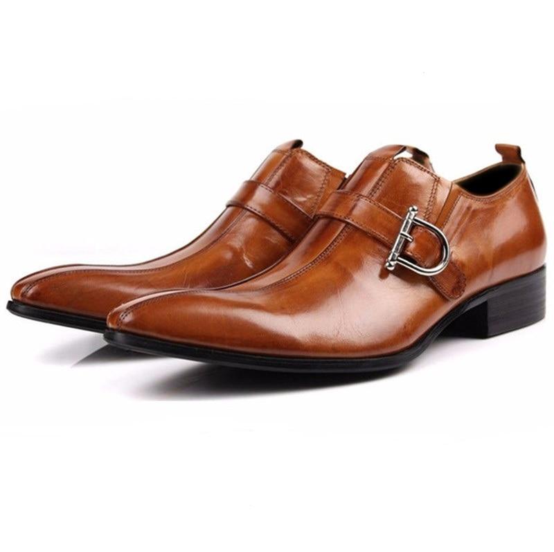 Великий розмір EUR45 Коричневий / Чорний Топлені Toe Loafers Чоловіки Туфлі з натуральної шкіри Бізнес взуття Взуття Чоловіче весільне взуття