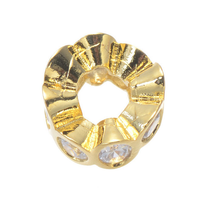 Wholesale 5pcs/Lot Bracelet And Necklace Accessory Micro CZ Pave Jewelry Findings Gold Filled Spacer Beads