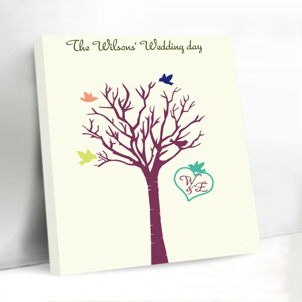 Love birds unique fingerprint tree canvas wedding guest book diy love birds unique fingerprint tree canvas wedding guest book diy custom initials personalized wedding decoration accessories in party diy decorations from junglespirit Image collections