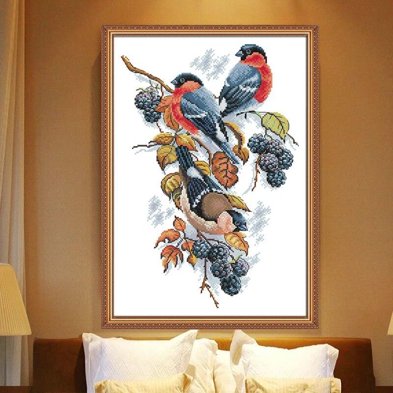 Набор для вышивки крестиком в виде птицы и ежевики маги с набивным рисунком Китайская вышивка набор для рукоделия вышивка крестиком малень...