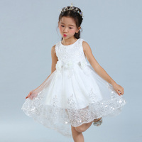 2017 Flower Girls Formal Dress Princess Wedding Party Kids Costume Children Clothing Gown Bridesmaid Tull Sequined