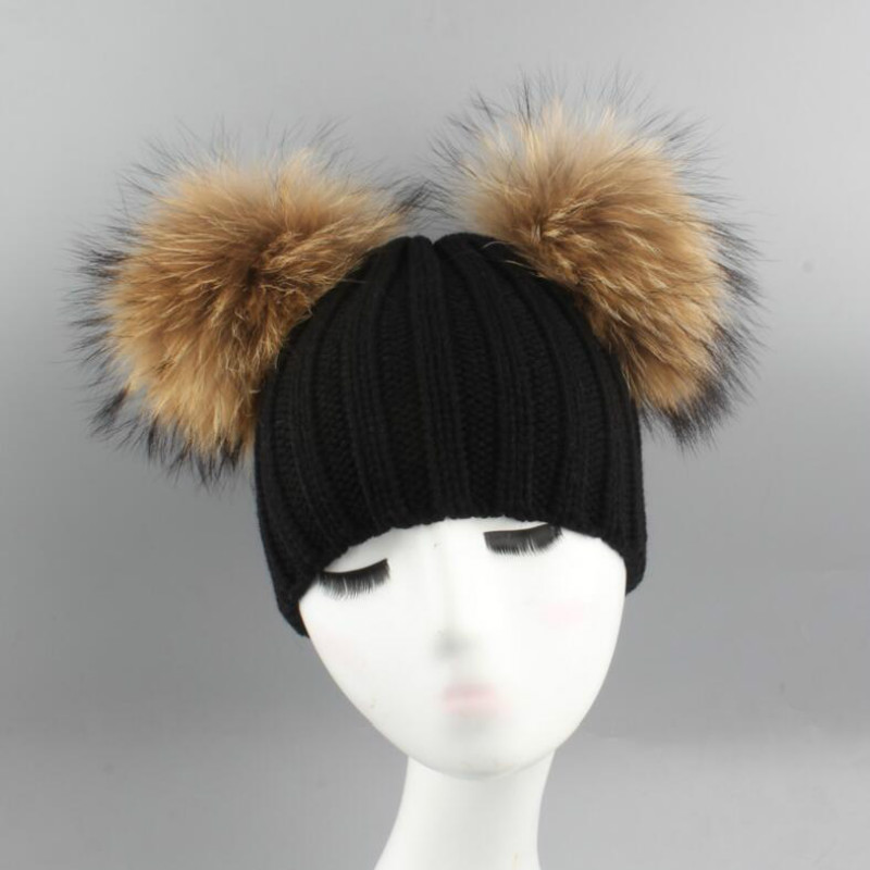 Which in shower children double real 15cm raccoon fur pompom winter hat kids boy girl two fur pom pom knitted   skullies     beanie