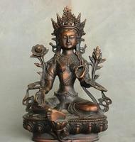 Tibet Buddhism Bronze Green Tara Mahayana Buddhism enlightenment Goddess Statue