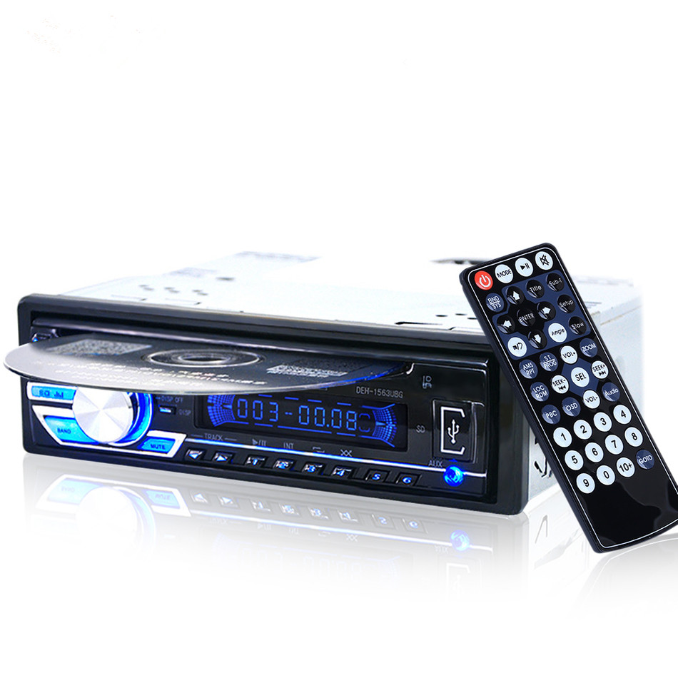 1563U 1-DIN 12 В в автомобильный Радио Аудио стерео mp3 плееры CD-плеер Поддержка USB SD Mp3 плеер AUX DVD VCD CD плеер с пультом дистанционного управления