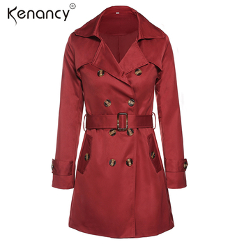 Kenancy Double Breasted Turn-down Collar Trench Coat