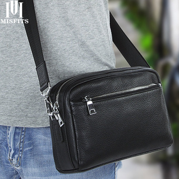 MISFITS Genuine Cow Leather Men Clutch Shoulder Crossbody Bags Phone Organizer Messenger Bag Handbags Travel Wash Bag For Male handmade 2018 vintage women handbags cow leather messenger shoulder bag vegetable tanned leather bags cell phone pocket 6 colors