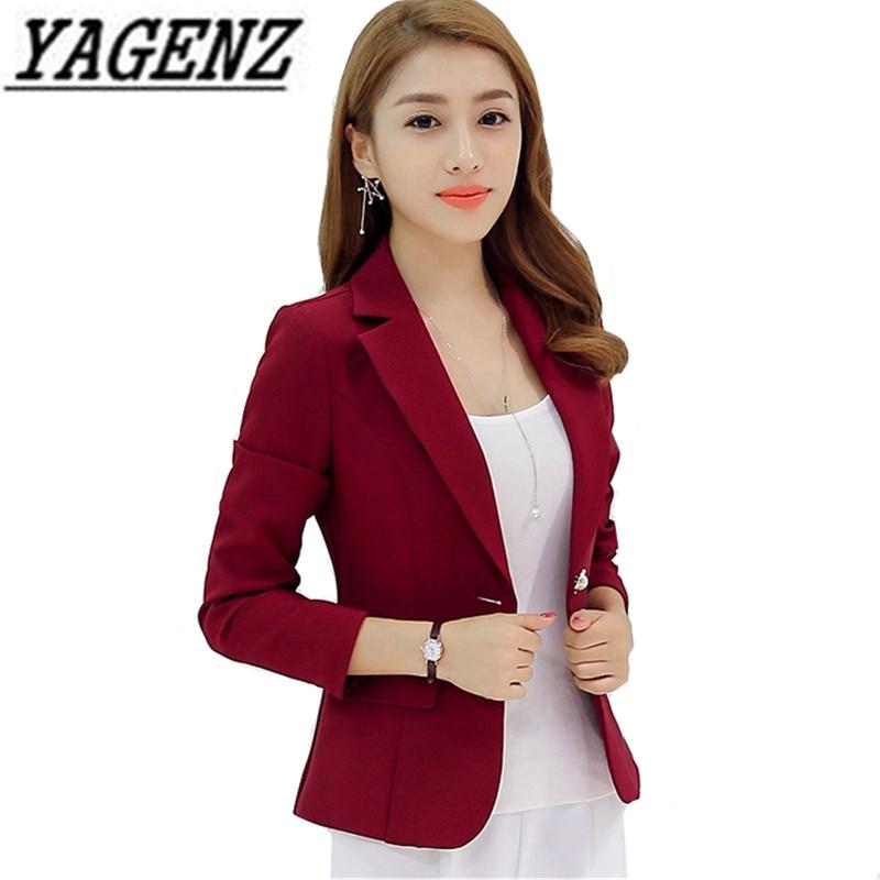 Grey Wine Red Navy Blue Ladies Business Suit 2020 Spring Autumn Slim Short Blazer Jacket Single Button Blazers Women Casual Tops