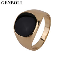 Fashion Stainless Steel Metal Ring Black Onyx Stone Engagement Wedding Ring(China)
