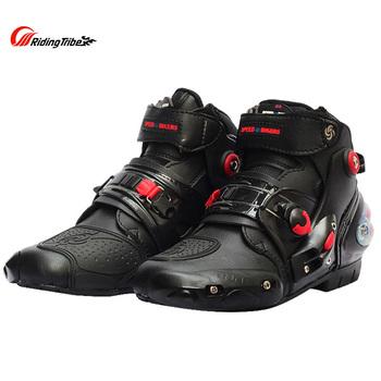 Buty motocyklowe buty zmiany biegów buty Speed Bikers wyścigi skuter ochraniacz na buty buty motocyklowe męskie buty buty motocyklowe Riding Tribe tanie i dobre opinie CN (pochodzenie) ANKLE wiatroszczelna Mężczyźni