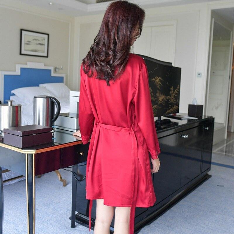 Сплошной цвет для женщин кружево шифоновый халат и набор ночных рубашек двойка халат sp0086