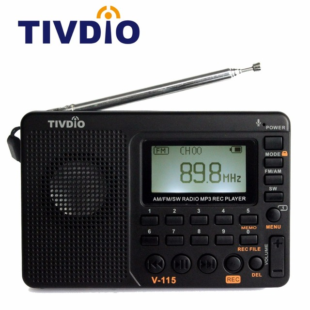 TIVDIO V-115 FM/AM/SW Radio Receiver Bass Sound MP3 Player REC Recorder Portable Radio with Sleep Timer F9205A