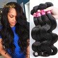 Ali queen 10a cabelo europeu virgem onda do corpo do cabelo graça 3 Ofertas Bundle de cabelo Humano Tecer Extensões de Cabelo de Crochê Livre grátis