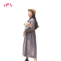 Classic Retro British Coffee Plaid Long Dress Autumn Winter Literary Wind Mori Girl Bow Tie Solid Color Long Sleeve A line Dress