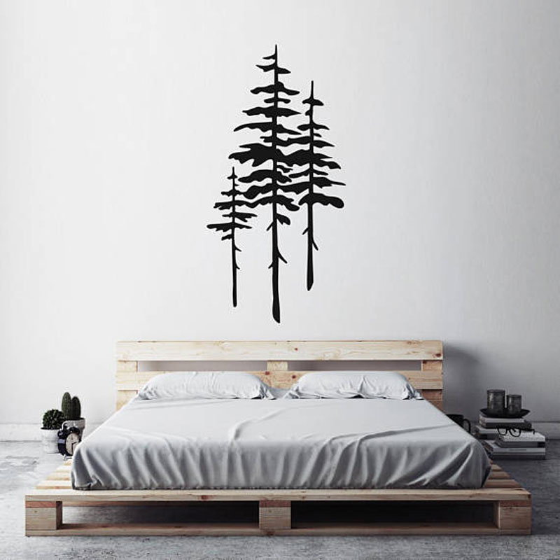 Large Size Pine Tree Wall Sticker Home Decor For Living Room Vinyl Tree Wall Decals Bedroom Removable Self Adhesive Murals LR07
