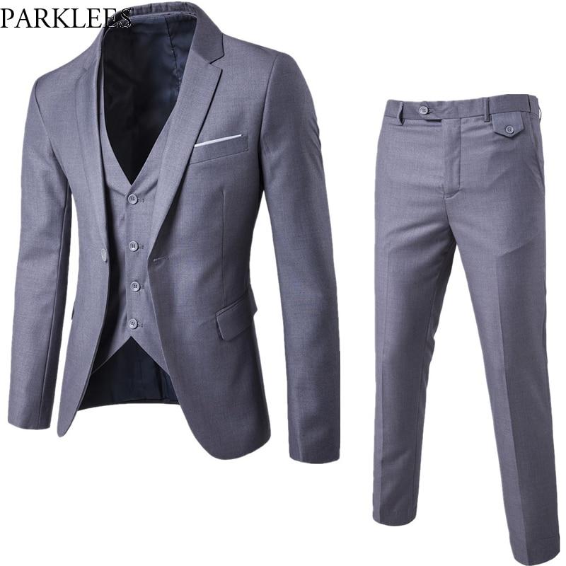 Gray Men Slim FIt One Button 3-Piece Suits Blazer With Pants 2019 New Business Wedding Party Jacket Vest & Pants Costume Homme