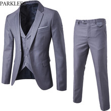 Gray Men Slim FIt One Button 3-Piece Suits Blazer With Pants 2019 New Business Wedding Party Jacket Vest & Pants Costume Homme(China)
